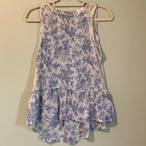 Sleeveless floral printed flowy top
